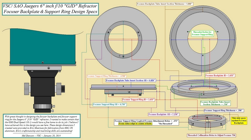 Design diagram of the focuser support componentsl I provided to Eric Moerman for milling. (Click to see an enlarged image.)