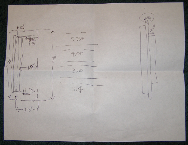"Here is a photo of the sheet I scribbled my ray-trace OTA specs/ dimensions prior to creating the 1:1 scale layout for the VSC/ SAO Jaegers 6"" f/10 ""GJD"" Refractor. (Click to see an enlarged image.)"