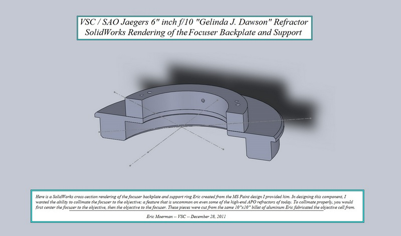 "SolidWorks cross-section rendering of Focuser Backplate and Support Ring for the VSC/ SAO Jaegers 6"" f/10 ""GJD"" Refractor.. (Click to see an enlarged image.)"
